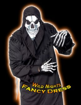 HALLOWEEN FANCY DRESS # SKELETON / SKULL HOOD / GLOVES